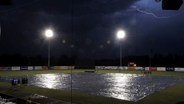 Rain and lightning delayed Saturday night's game by two-and-a-half hours.