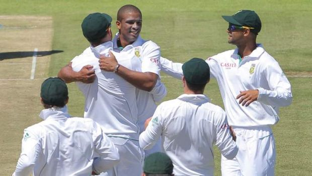 Vernon Philander of the Proteas celebrates a wicket on day one of the Test against New Zealand.