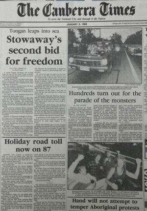 Copy of previous coverage of Summernats in  <i>The Canberra Times</i> from January 3, 1988.