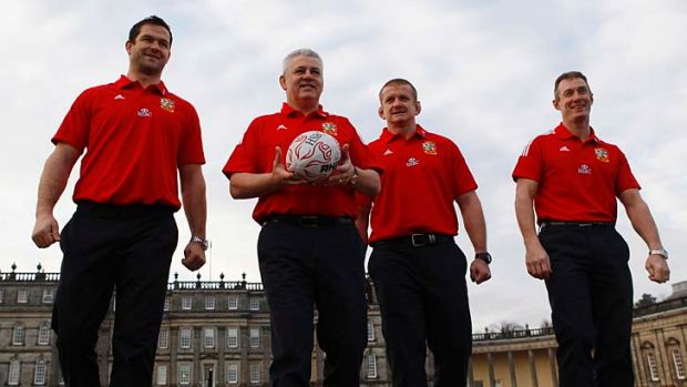 British and Irish Lions rugby union team head coach Warren Gatland (second left) with assistant coaches Andy Farrell ...