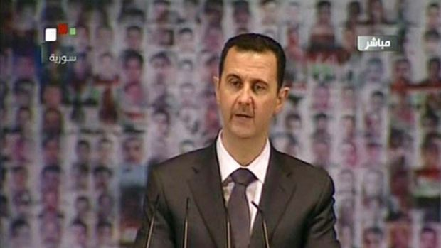 """We meet today and suffering is overwhelming Syrian land"" ... an image grab of Syria's embattled President Bashar ..."