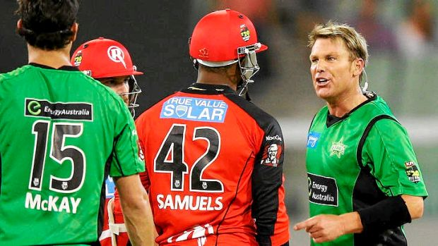 Shane Warne and Cameron White have been fined, and Warne banned for one game, after fiery Big Bash clash in Melbourne on ...