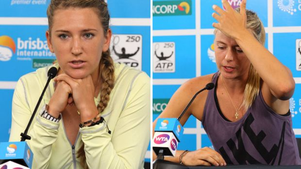 Sorry, no can do ... Top seed Victoria Azarenka, at a press conference in Brisbane, says she fell victim to a ...