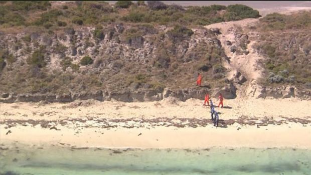 Forensic officers search a large area of Rottnest Island after the discovery of a man's head washed up on the beach.