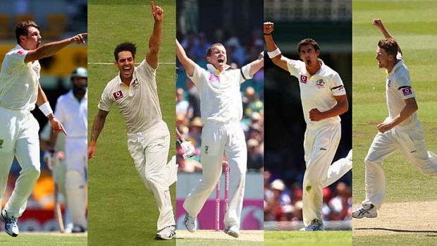 James Pattinson, Mitchell Johnson, Peter Siddle, Mitchell Starc, and Jackson Bird. <i>Photos: Brendan Esposito and Getty ...
