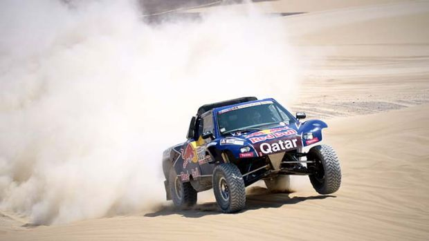 Carlos Sainz competes during stage three of the Dakar Rally.