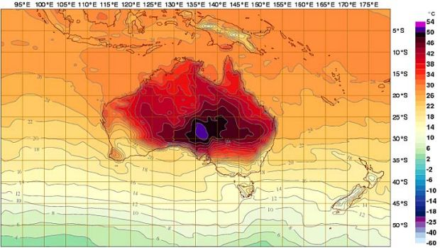 Deep purple ... the Bureau of Meteorology's  interactive weather forecasting chart has added new colours.