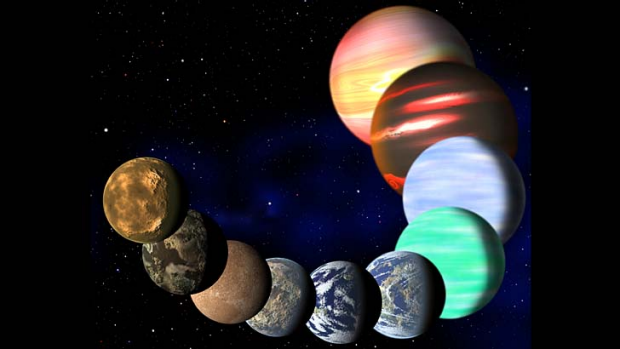 An artist's impression of the different types of planets in the Milky Way.