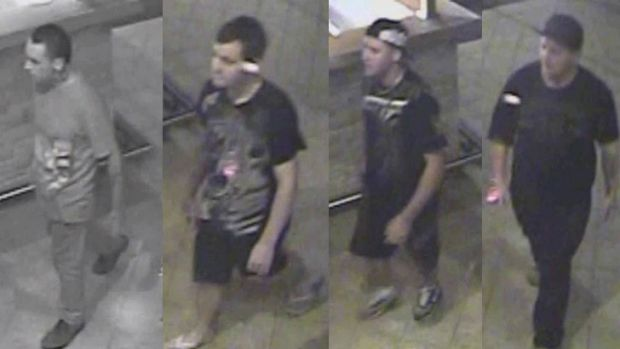 Police want to speak to these four men seen outside the Eastern Hotel in Midland.