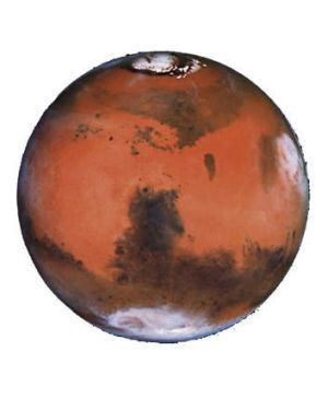 A picture of the planet Mars taken by the Hubble space telescope.