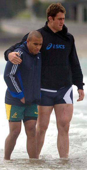 On the road to recovery: Will Genia and James Horwill.