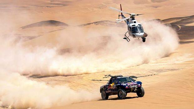 Qatar's Nasser Al-Attiyah during Stage 3 between Pisco and Nazca, Peru.
