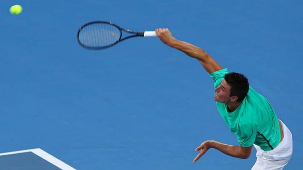 In control ... Bernard Tomic notches another home win - his 13th in 15 matches.