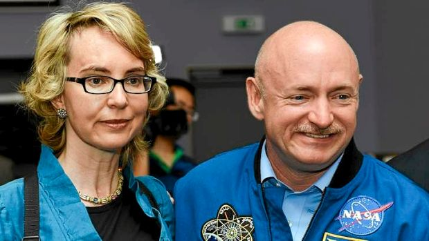 Former US congresswoman Gabrielle Giffords and her husband Mark Kelly.
