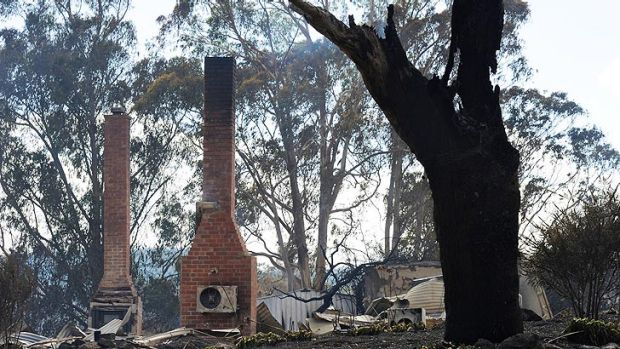 What remains of a house at Carngham, one of four that was razed by the fire.