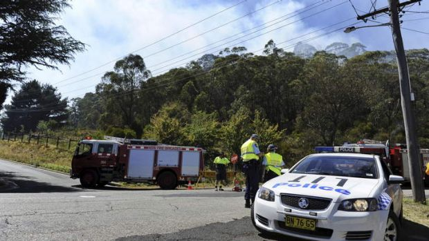 On alert ... a police roadblock near the fire at Berry Steet, Lithgow.