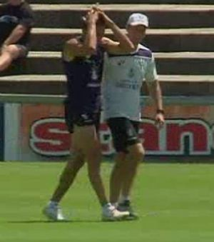 Luckless Anthony Morabito was accompanied by coach Ross Lyon as he underwent further assessment of a knee injury. ...