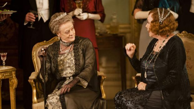 Maggie Smith as the Dowager Countess, left, and Shirley MacLaine.