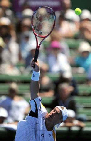 Victory bound ... Lleyton Hewitt, the world No.82, in action at the Kooyong Classic.