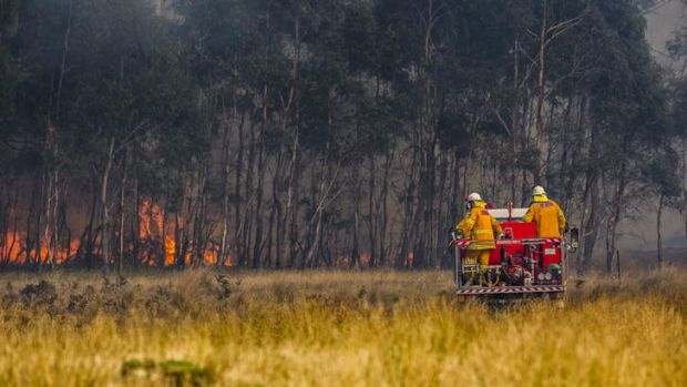 Crews work to contain a fire near Bungendore that has burnt through more than 1100 hectares of land off the Kings ...