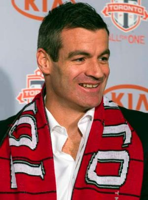 New Toronto FC coach Ryan Nelsen speaks to the media in Toronto on Tuesday.