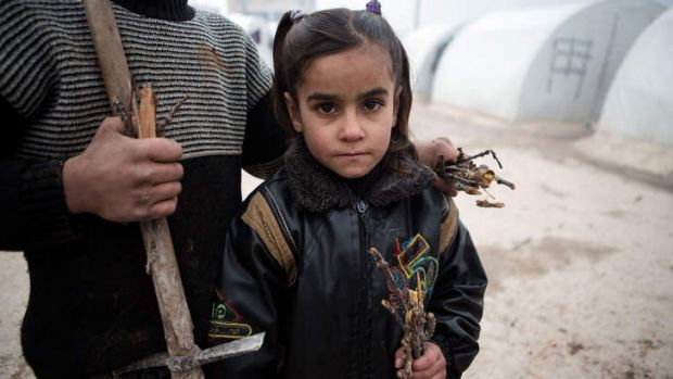 Survival … a child helps collect wood in a camp near Azaz.