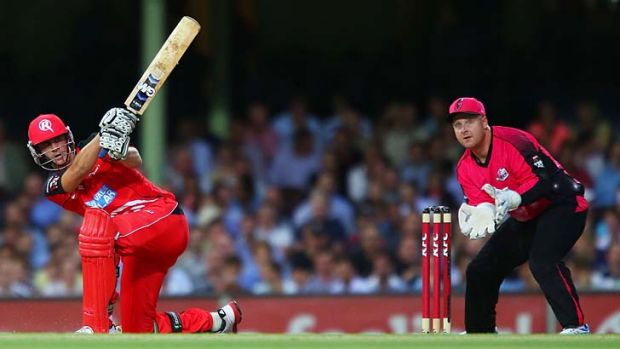 Hearty swing ... Alex Hales takes the long handle to the Sixers attack during a blistering knock of 89 at the SCG.