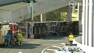 A truck rollover on the entrance to the Clem7 on Lutwyche road, Brisbane