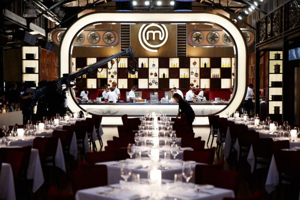 Voila! ... The MasterChef set inside Centenary Hall at the Melbourne Showgrounds.