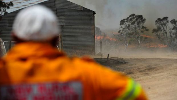 The Yarrabin bushfire burned close to properties on Mount Forest Road near Cooma on Tuesday.