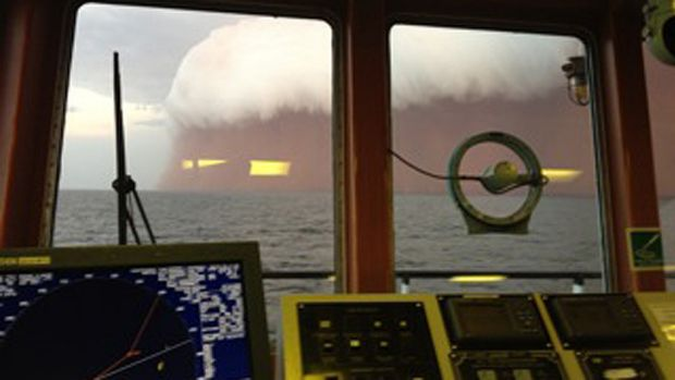 Taken by mobile phone inside a boat 25 nautical miles off Onslow, in WA's Pilbara.
