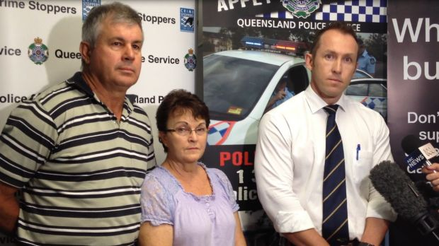 Leanne and Gary Pullen along with Detective Acting Senior Sergeant Jon Kent address the media.
