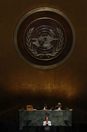Prime Minister Julia Gillard addressing the United Nations General Assembly last year.