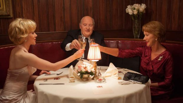 The wrong man ... Anthony Hopkins as Alfred Hitchcock, with Helen Mirren, right, as his wife Alma, and Scarlett ...