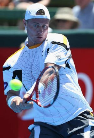 Digging deep: Lleyton Hewitt during his match against Tomas Berdych.