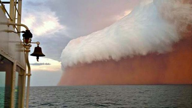 Nature's wrath ... a spectacular gust front  was captured about 25 nautical miles north-west of Onslow in the lead-up to ...