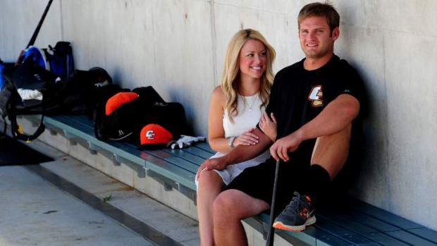 Cavalry player Jeremy Barnes and his wife Lauren.