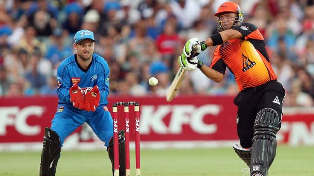 Herschelle Gibbs of Perth bats during the Big Bash League match between the Adelaide Strikers and the Perth Scorchers at ...