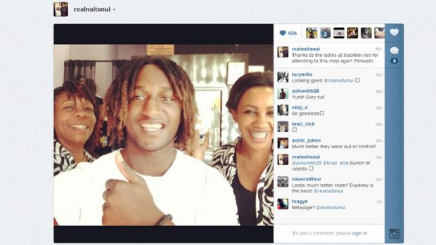 "Nic Naitanui's Instagram photo of his new 'do attracted hundreds of ""favourites"" in just a few hours"