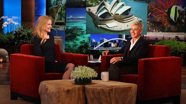 Big surprise ... Nicole Kidman and Ellen DeGeneres talk Australia.