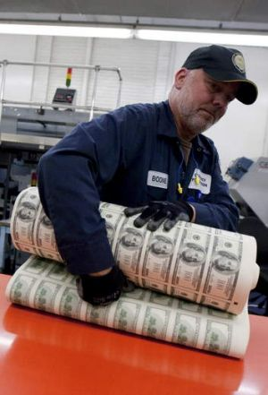 $US100 notes to be cut up at the US Bureau of Printing.