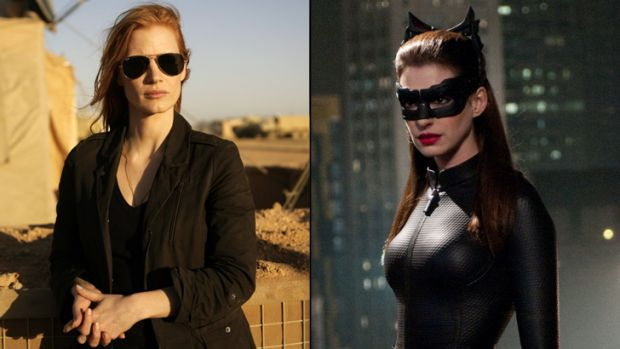 Jessica Chastain (left) as  Maya in  <i>Zero Dark Thirty</i> and Anne Hathaway (right) as a feisty Catwoman in <i>The ...