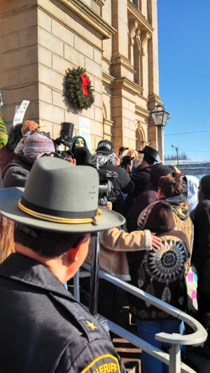 Protesters gathered in front of the of the Jefferson County Courthouse in Steubenville.