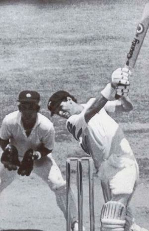 Walking down the pitch … Dean Jones steps out to lift Shivlal Yadav to the fence on the second day of the famous ...