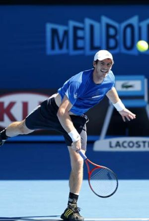 Time to shine ... Andy Murray during a practice session for the Open.