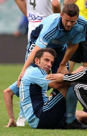 Marked man … Alessandro Del Piero endures rough-house tactics against Melbourne Heart.