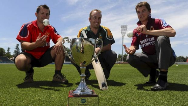 The three captains of the Canberra T20 teams contesting the cricket finals on Sunday at Manuka Oval. Michael Wescombe ...