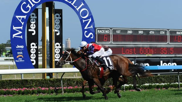 Jockey Michael Cahill rides Real Surreal to victory during the Magic Millions at Gold Coast Racecourse on January 12, ...