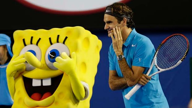 Righty-ho, Bob: Swiss superstar Roger Federer jokes with cartoon character SpongeBob SquarePants during Saturday's Kids ...