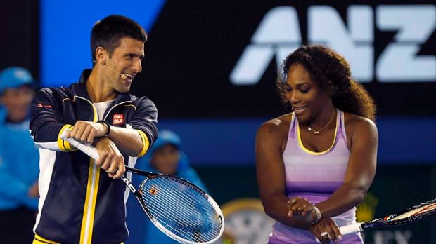 Djoker style: World No. 1 Novak Djokovic shows his moves to US star Serena Williams on Saturday.